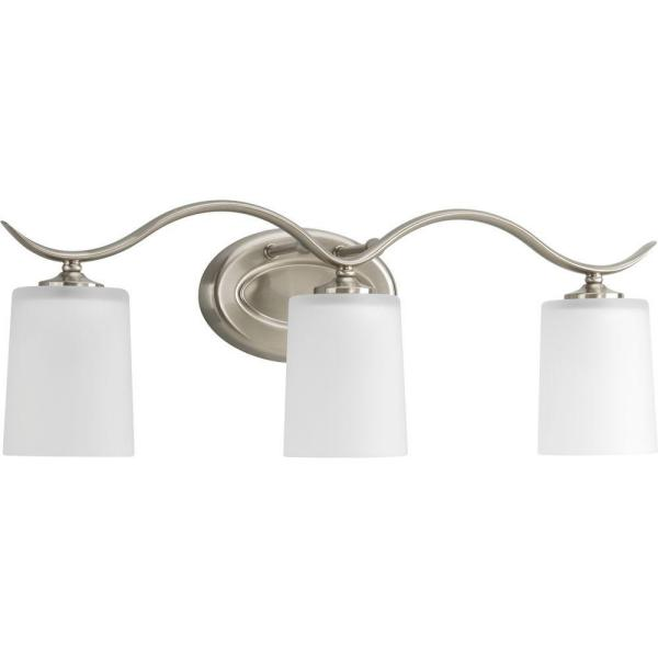 Inspire Collection 22.375 in. 3-Light Brushed Nickel Bathroom Vanity Light with Glass Shades
