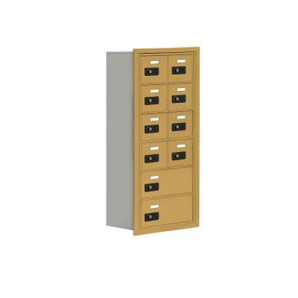 19000 Series 17.5 in. W x 36.5 in. H x 8.75 in. D 8 A / 2 B Doors R-Mount Resettable Locks Cell Phone Locker in Gold