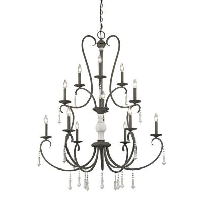 Porto Cristo 12-Light Palermo Rust with Birch Accents Chandelier