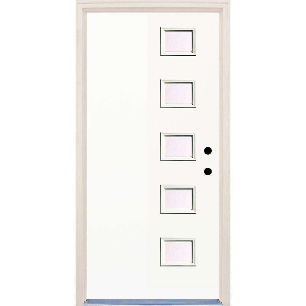 Builders Choice 36 in. x 80 in. Classic Left-Hand 5 Lite Clear Glass Painted Fiberglass Prehung Front Door with Brickmould