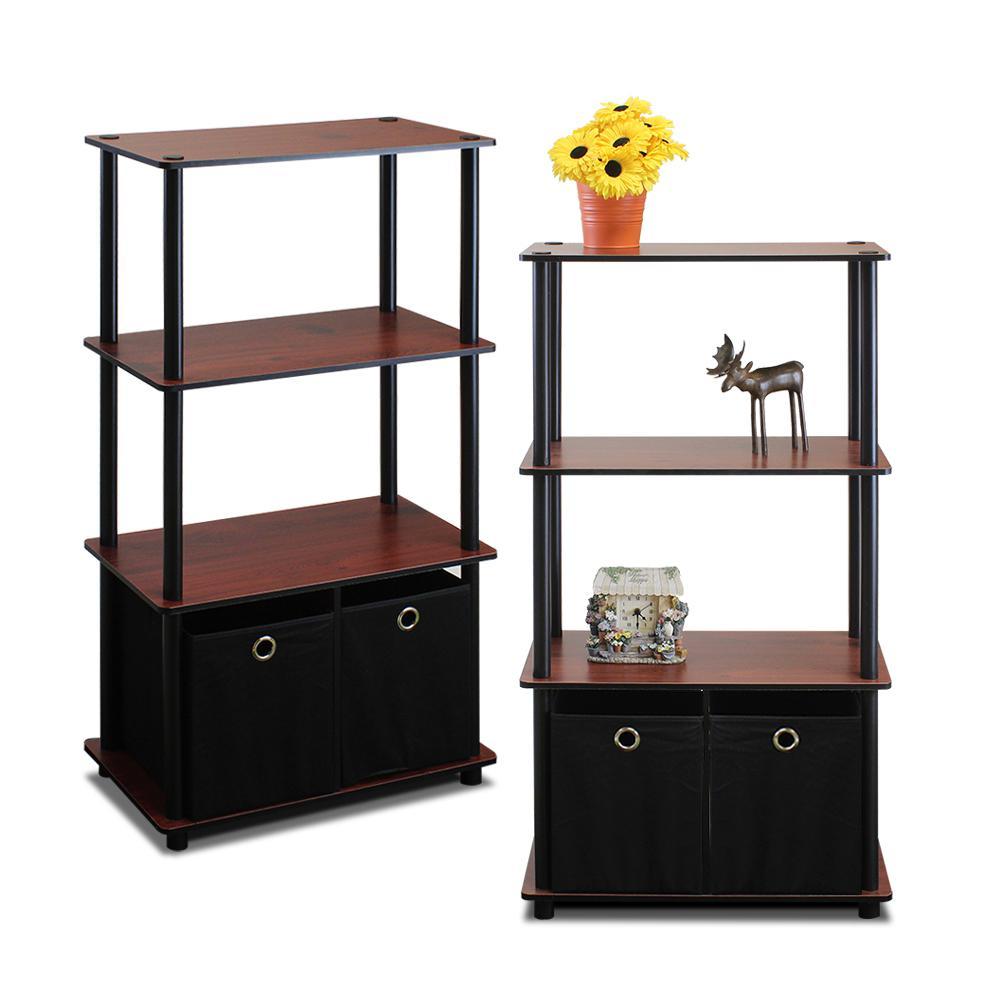 Go Green Dark Cherry 4-Shelf Open Bookcase with Bins (2-Pack)