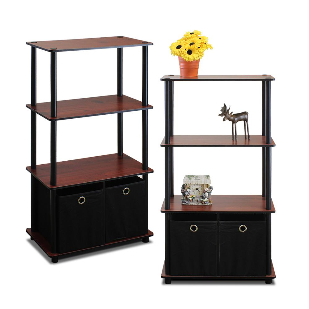 Go Green Dark Cherry 4-Shelf Open Bookcase with Bins (2-Pack)