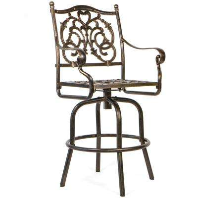 30 in. Antique Swivel Aluminum Outdoor Patio Bar Stool in Bronze