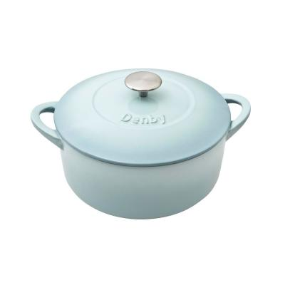 Heritage Pavilion 5.5 qt. Round Cast Iron Casserole Dish in Blue with Lid