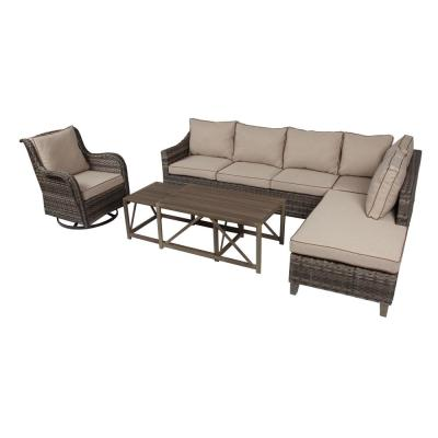 Dahlia 5-Piece All-Weather Wicker Outdoor Sectional Set with Beige Cushions