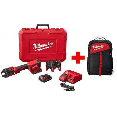 M18 18-Volt Lithium-Ion Cordless Short Throw Press Tool Kit with (3) PEX Crimp Jaws W/ Free Milwaukee Backpack