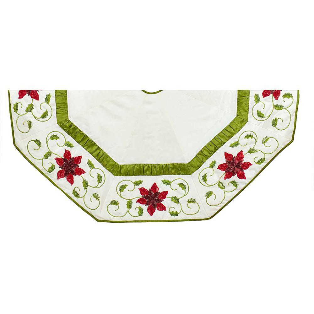 Poinsettia Christmas Tree Skirt