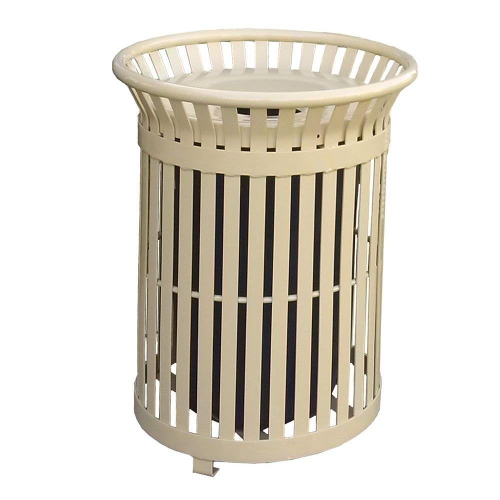 Paris 34 Gal. Tan Steel Outdoor Trash Can with Steel Lid ...