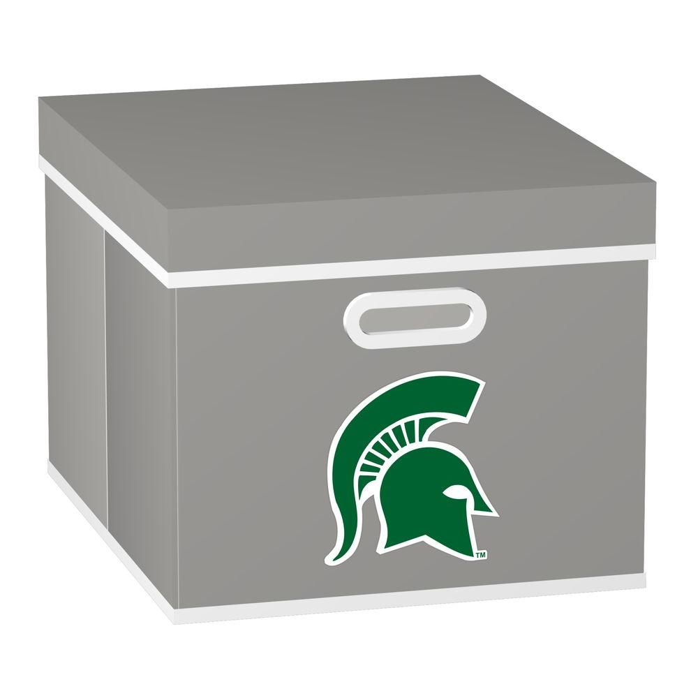 MyOwnersBox College STACKITS Michigan State University 12 in. x 10 in. x 15 in. Stackable Grey Fabric Storage Cube