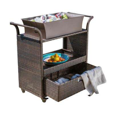 Kolten Multibrown Wicker Bar Cart with Ice Bucket and Drawer