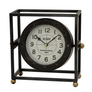 THREE HANDS 11.5 inch x 5.75 inch Metal Table Clock in Black by THREE HANDS