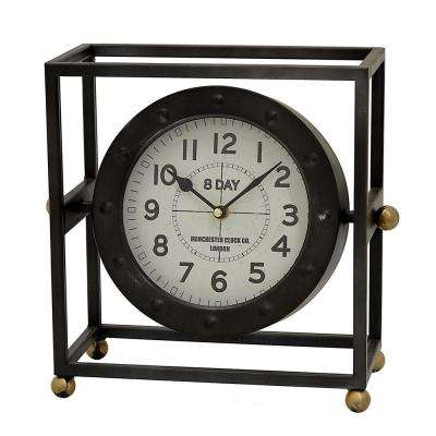 11.5 in. x 5.75 in. Metal Table Clock in Black