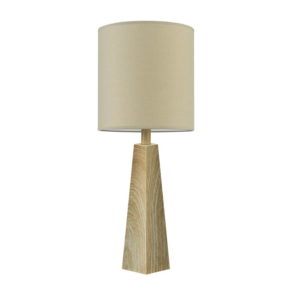 Monterey 25 in. Faux Wood Table Lamp with Beige Fabric Shade