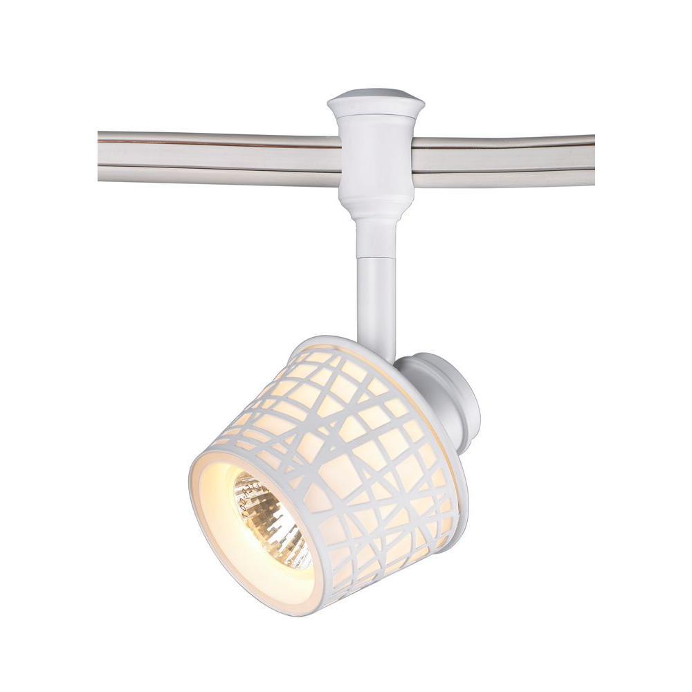 1-Light White Convertible Basket Flexible Track Lighting Head