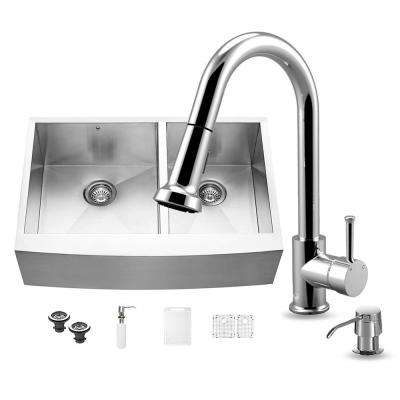 All-in-One Farmhouse Apron Front Stainless Steel 33 in. 0-Hole Double Bowl Kitchen Sink Set in Chrome