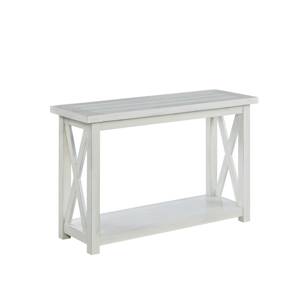 Homestyles Seaside 48 In White Standard Rectangle Wood Console Table With Storage 5523 22 The Home Depot