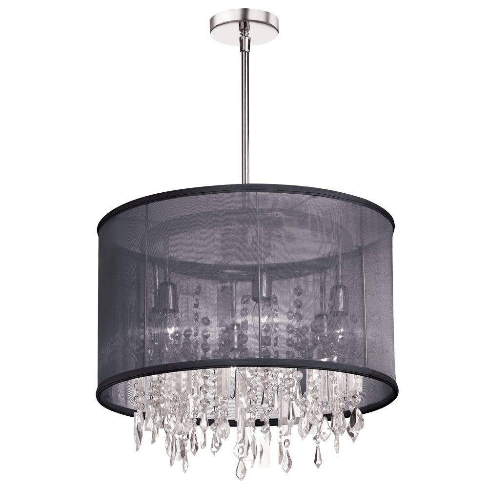 Bohemian 6-Light Polished Chrome Crystal Pendant with Black Organza Drum Shade