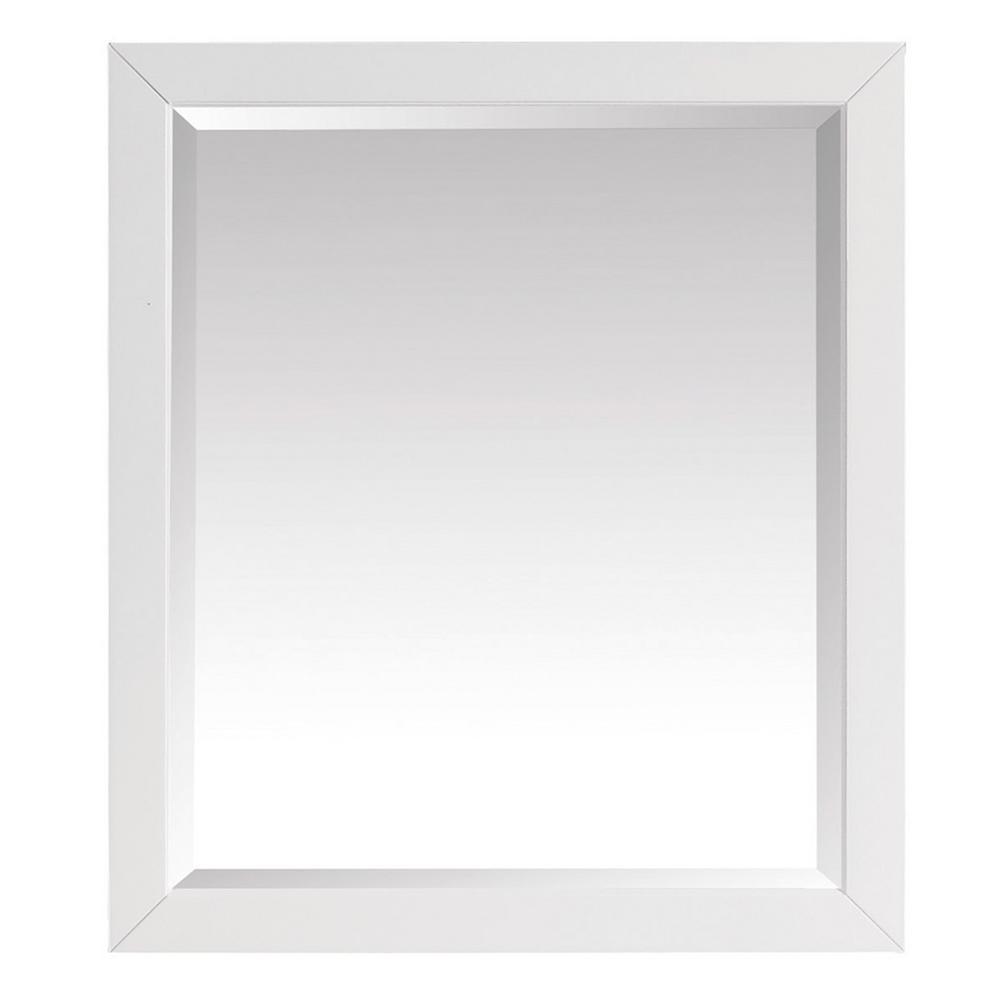 Windlowe 28 in. x 32 in. Framed Mirror in White