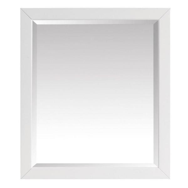 27.25 in. W x 32.00 in. H Framed Rectangular Beveled Edge Bathroom Vanity Mirror in White finish