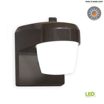 Bronze Outdoor Integrated LED Small Entry and Patio Light with Dusk to Dawn Photocell Sensor, 5000K Daylight