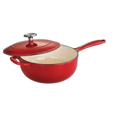 Gourmet 3 qt. Porcelain-Enameled Cast Iron Saucier in Gradated Red with Lid