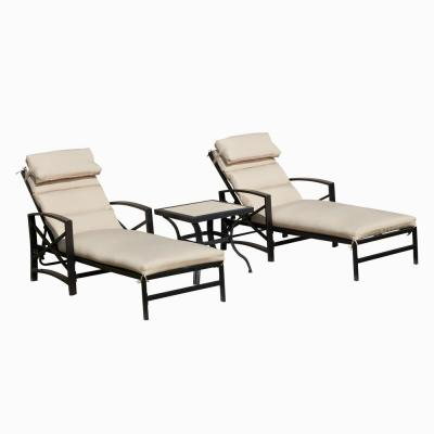 Adjustable Back Steel Outdoor Lounge Chair Set with Khaki Cushions (3-Pack)