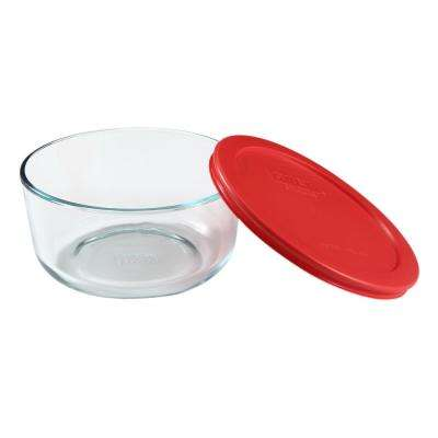 Simply Store 4 Cup Round Glass Storage Container with Red Lid