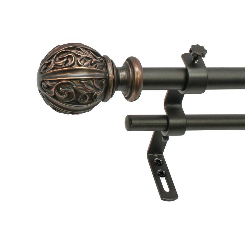 5/8 in. Leaf Ball Telescoping Drapery Double Rod Set 48 in. - 86 in., Vintage Bronze