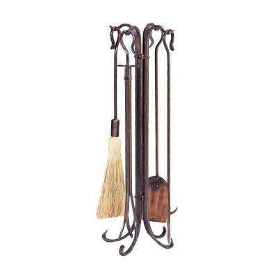 Antique Copper 5-Piece Fireplace Tool Set with Crook Handles and Hammered Finish
