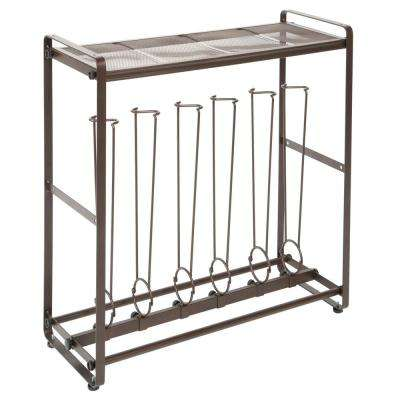 3-Pair Bronze Tilt-Out Tall Boot Shoe Rack