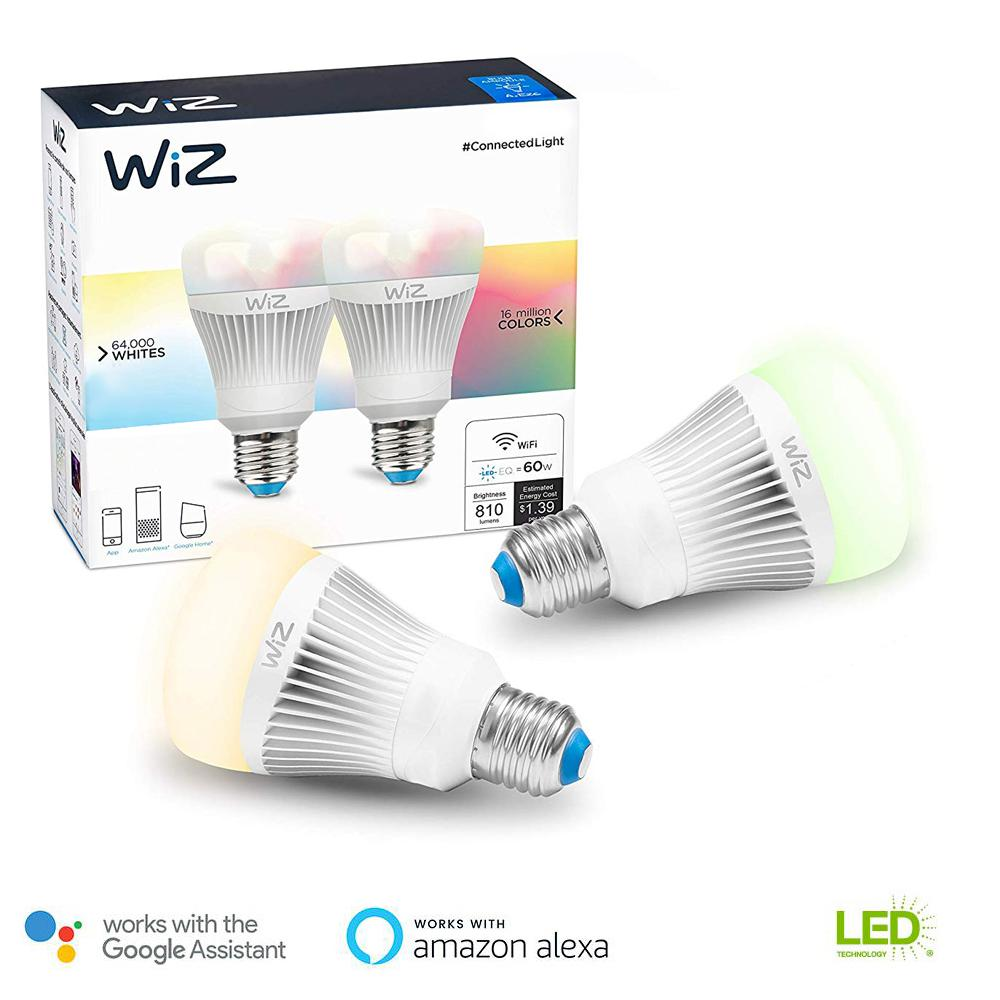 WiZ 60W Equivalent A19 Colors and Tunable White Wi-Fi Connected Smart LED Light Bulb (2-Pack)