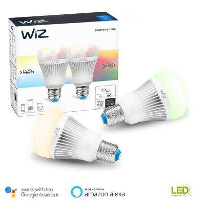 60W Equivalent A19 Colors and Tunable White Wi-Fi Connected Smart LED Light Bulb (2-Pack)
