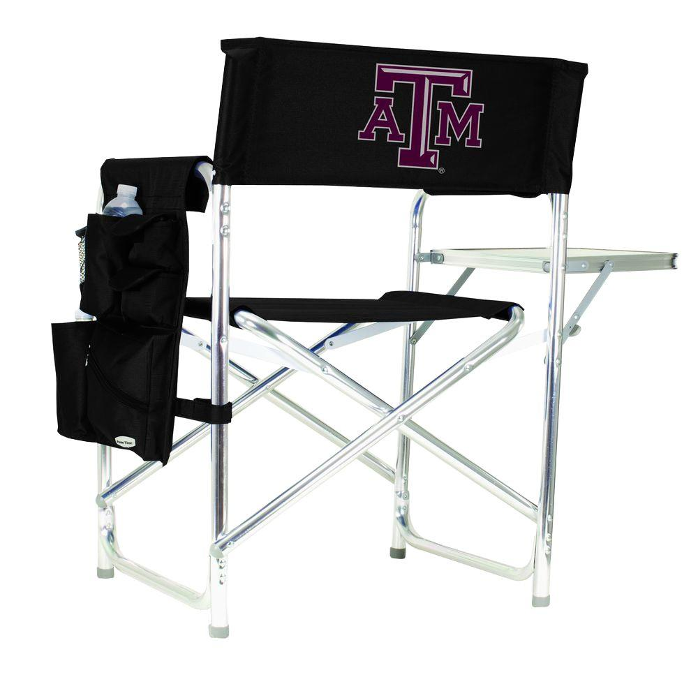 Picnic Time Texas A&M University Black Sports Chair with Digital Logo