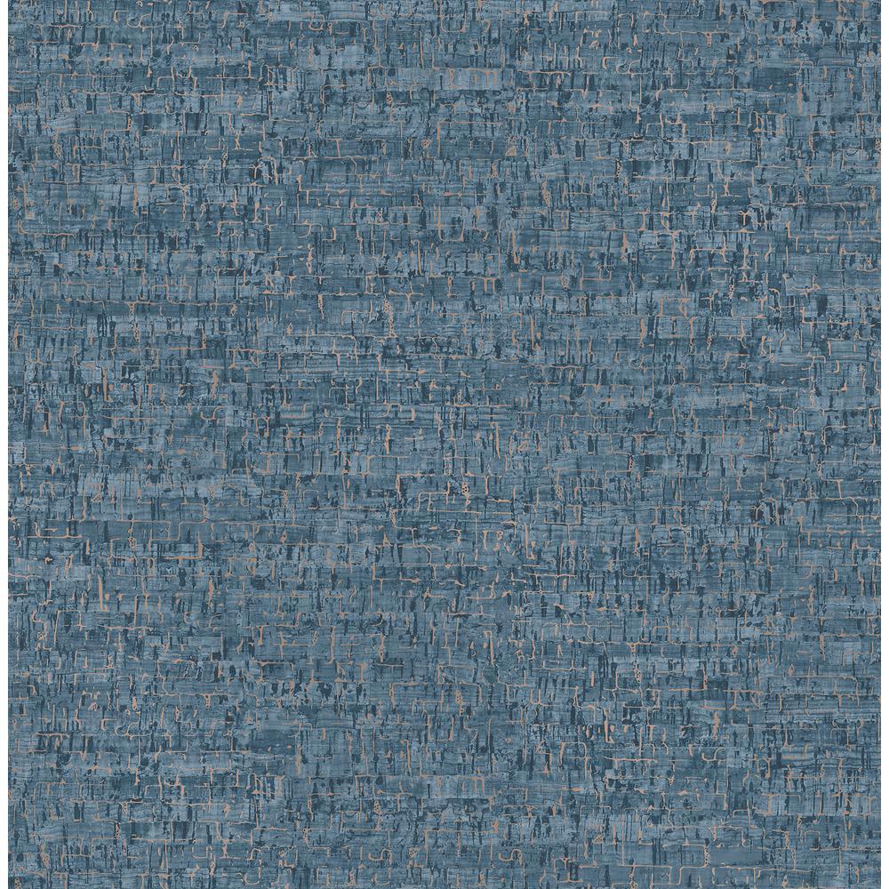 Henrique Navy Faux Cork Wallpaper