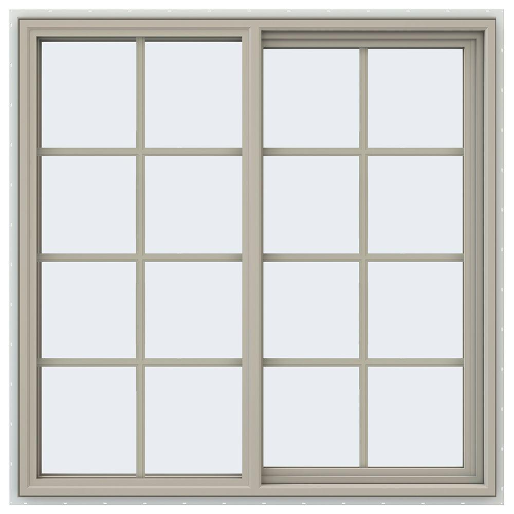 V 4500 Series Desert Sand Vinyl Right Handed Sliding Window With Colonial Grids Grilles