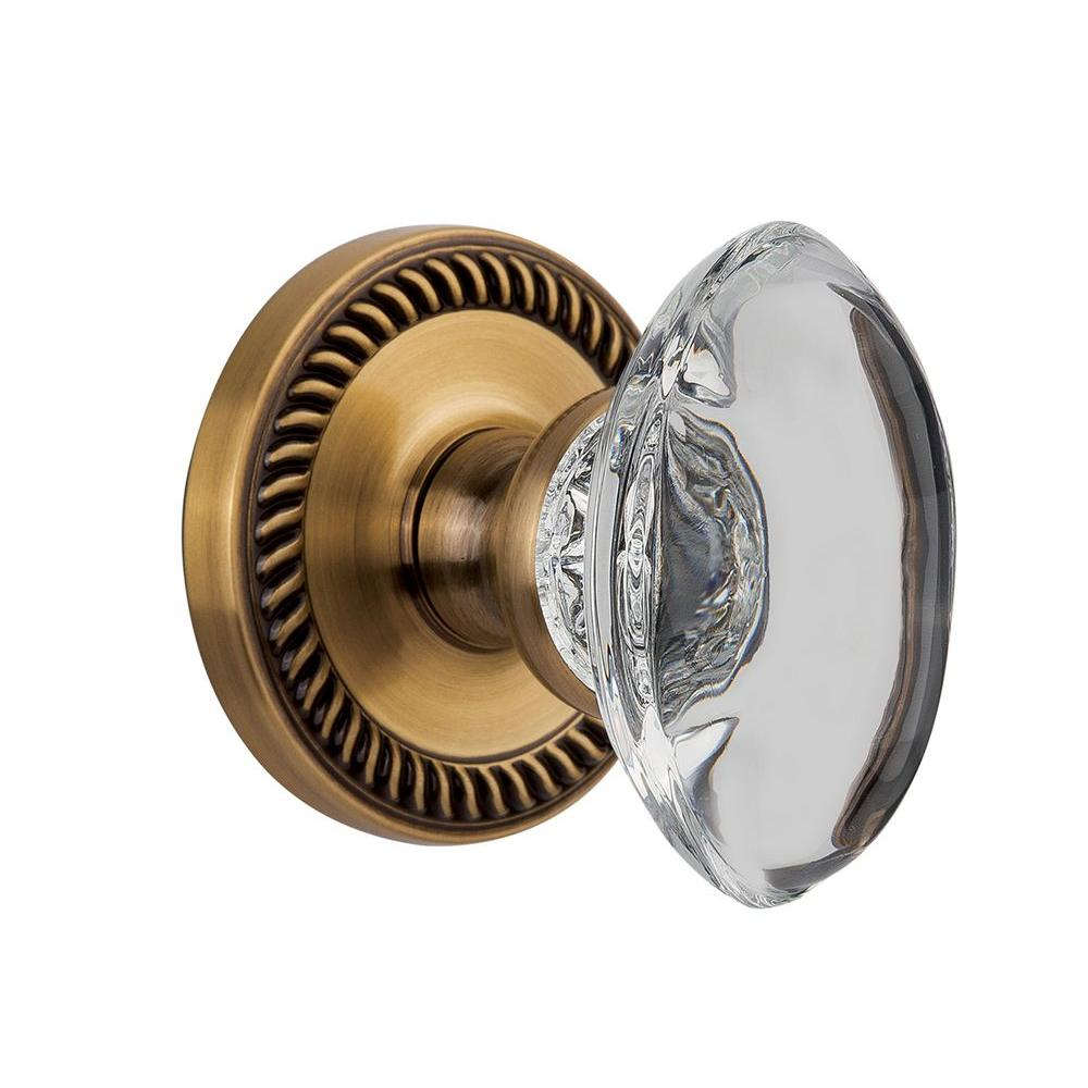 null Grandeur Vintage Brass Privacy Newport with Provence Crystal Knob