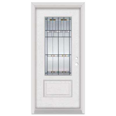 32 in. x 80 in. Architectural Left-Hand Patina Finished Fiberglass Oak Woodgrain Prehung Front Door