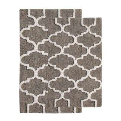 24 in. x 17 in. and 34 in. x 21 in. 2-Piece Cotton Bath Rug Set in Gray and White