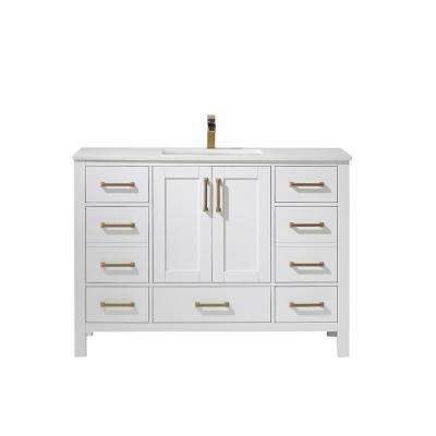 Shannon 48 in. Bath Vanity in White with Manufactured Stone Vanity Top in White with White Basin