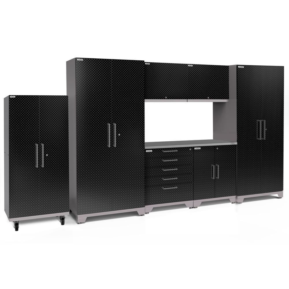 Performance Plus Diamond Plate 2.0 80 in. H x 156 in. W x 24 in. D Garage Cabinet Set in Black (8-Piece)