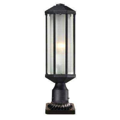 Arvid 1-Light Outdoor Black Post Light with Matte Opal Glass Shade