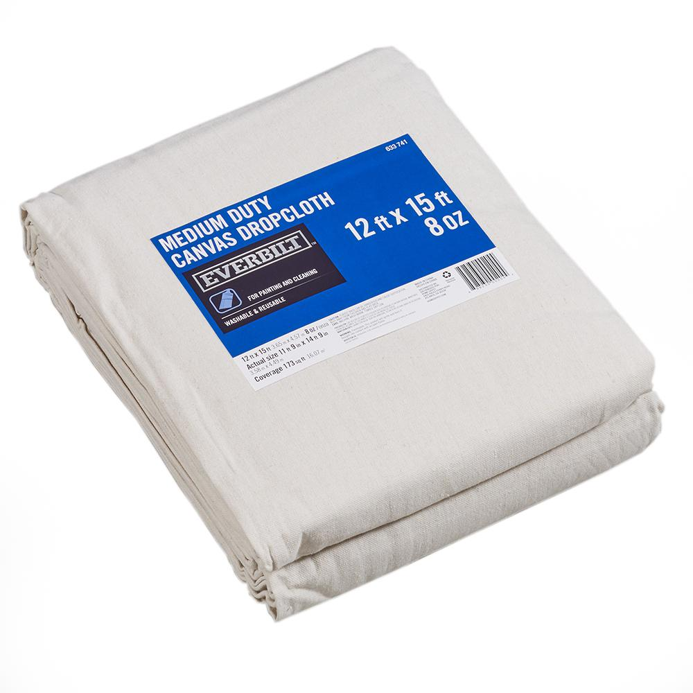 Everbilt 12 Ft x 15 Ft Medium Duty Canvas Drop Cloth