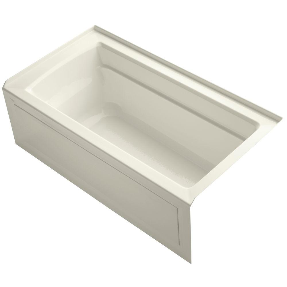 Archer 5 ft. Right Drain Soaking Tub in Biscuit with Bask