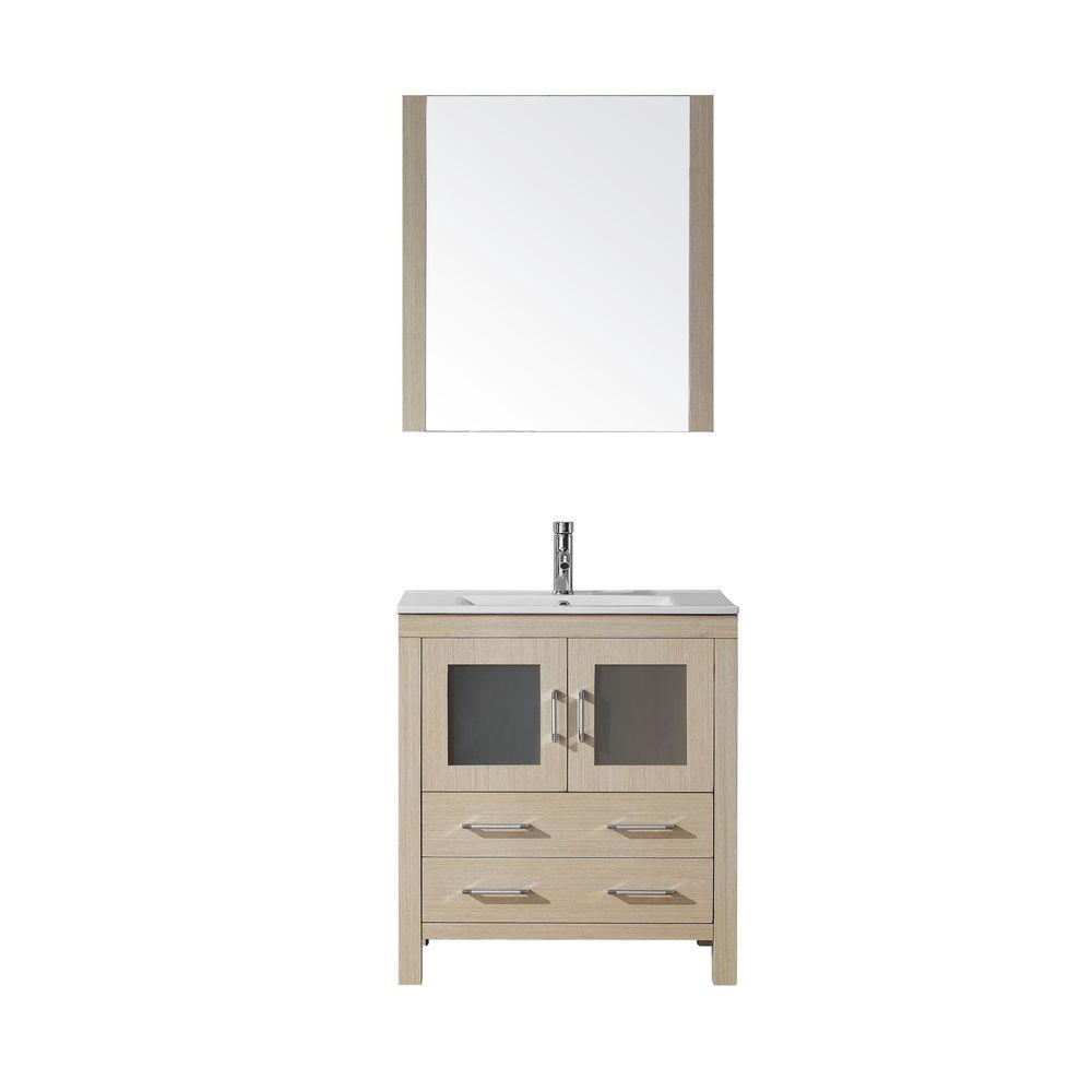Virtu USA Dior 30 in. Vanity in Light Oak with Ceramic Vanity Top in White and Mirror-DISCONTINUED
