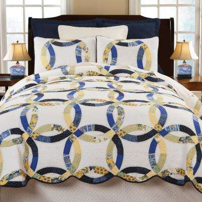 White Provence Wedding Ring Twin Quilt St