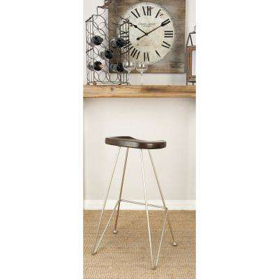 32 in. Silver Metallic Iron Bar Stool with Black Wooden Seat