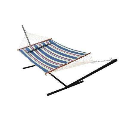 Nantucket 156 in. Marine Blue Stripe Quilted Cotton Reversible Double Hammock
