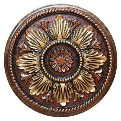 18-1/8 in. Fresh Bloom, Bronze, Gold and Copper Polyurethane Hand Painted Ceiling Medallion