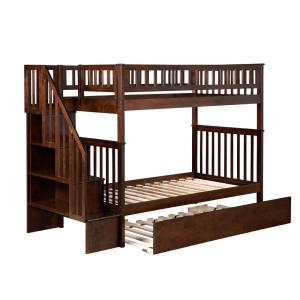 Woodland Walnut Twin Over Twin Staircase Bunk Bed with Twin Size Urban Trundle Bed