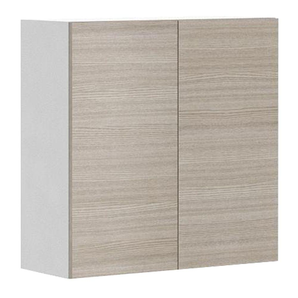 Fabritec Ready to Assemble 30x30x12.5 in. Geneva Wall Cabinet in White Melamine and Door in Silver Pine